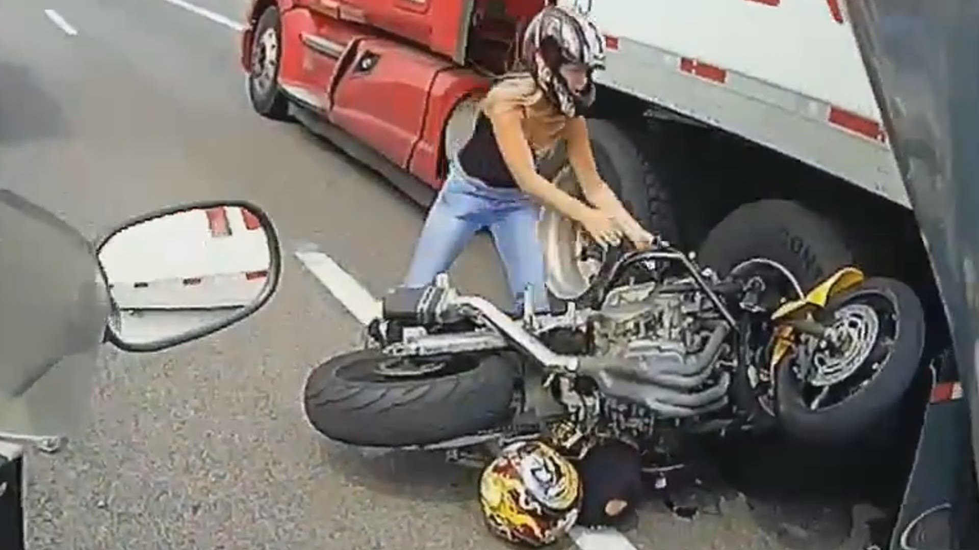 Stunningly Violent Motorcycle And Semi Truck Crash At