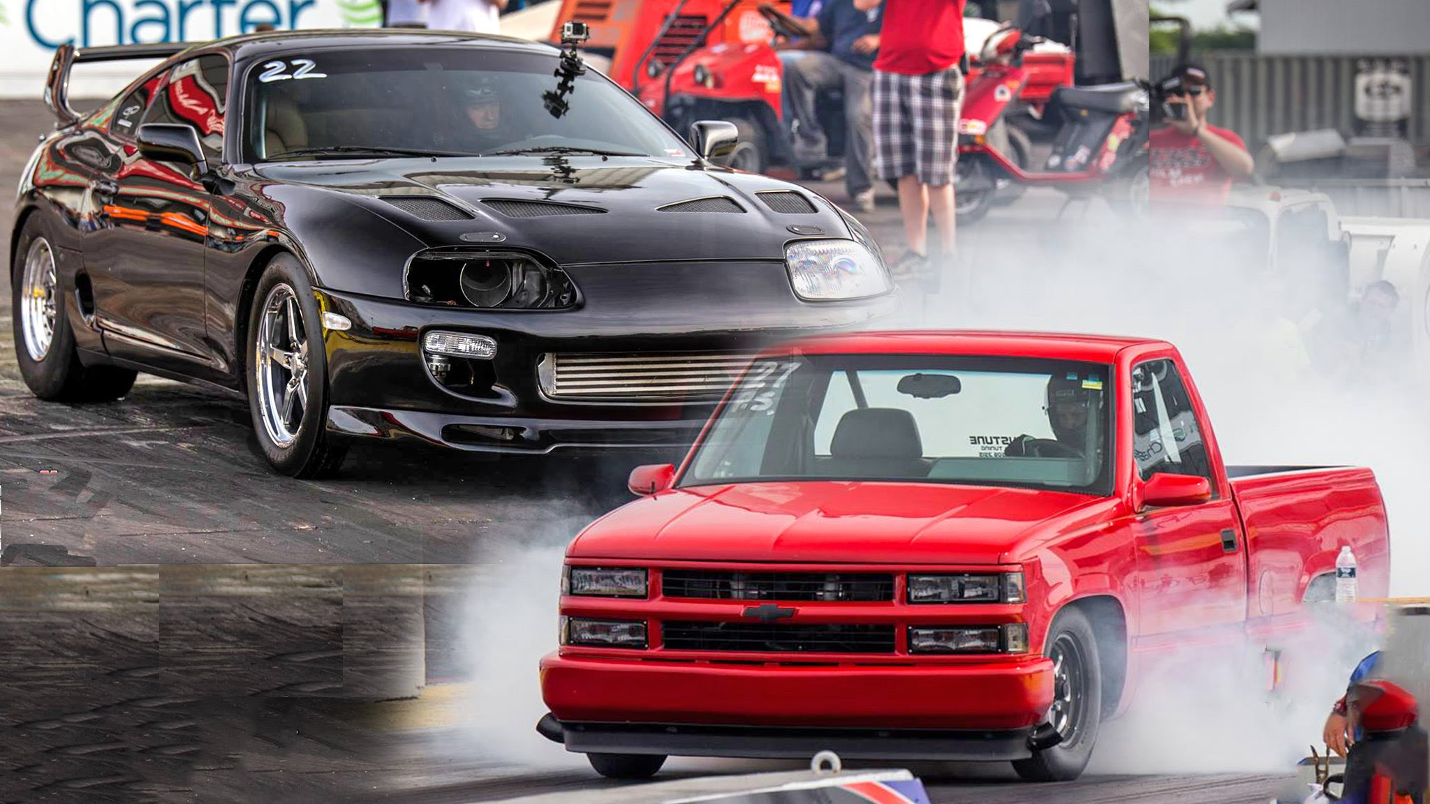 This 1500hp Supra Vs 1600hp Truck Race Ends Up In A