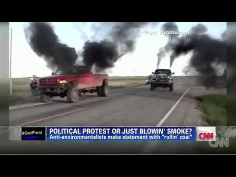 Rollin Coal Trucks Spewing Black Smoke On Bicyclists And