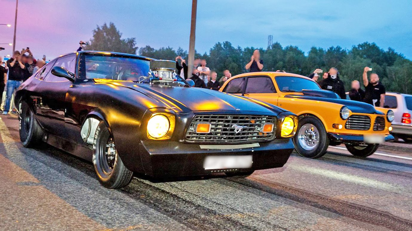1400HP TT Opel Nitrous Mustang And More In BIG Tire Illegal Street Racing Action